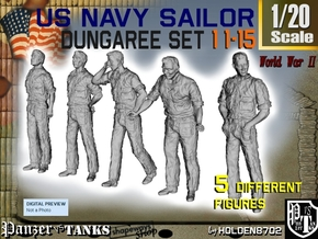 1-20 US Navy Dungaree Set 11-15 in White Strong & Flexible