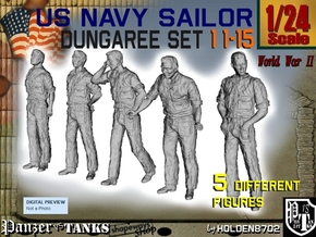 1-24 US Navy Dungaree Set 11-15 in White Strong & Flexible