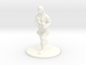 Soldier Running with P90 - 25 mm scale in White Strong & Flexible Polished