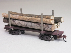 HOn3 Logging Car C x4 in White Strong & Flexible