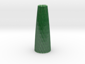 Customizable Twisted Vase Tapered in Gloss Oribe Green Porcelain