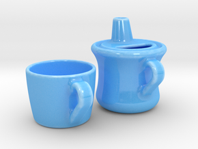 Teapot With Cup in Gloss Blue Porcelain