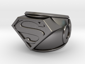 Superman Ring 24mm in Polished Nickel Steel