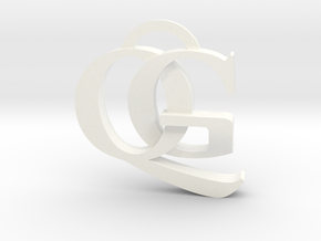 QG Keychain in White Strong & Flexible Polished