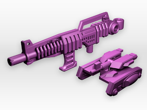 Rifle And Tank Adaptor for CW 'Overlord' in White Strong & Flexible Polished