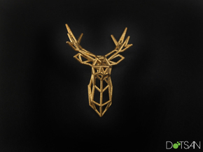 Stag Facing Forward Pendant in Polished Gold Steel