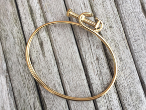 Hose Clamp Bangle  in Polished Brass