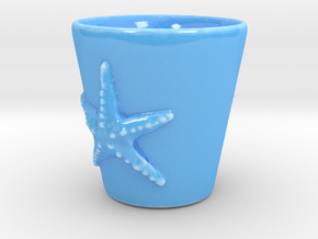 Starfish Shot Glass in Gloss Blue Porcelain