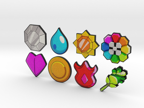 Pokemon Badges (Indigo League) in Full Color Sandstone
