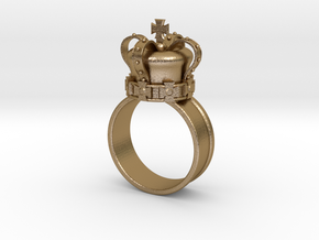 Crown Ring 26mm in Polished Gold Steel