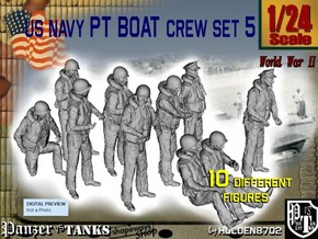 1/24 US Navy PT Boat Crew Set5 in White Strong & Flexible