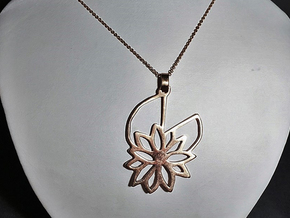 Waterlily Pendant in Polished Bronze