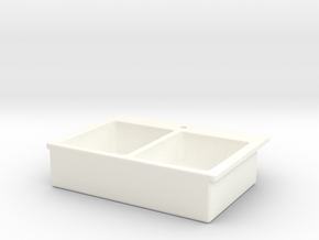Miniature Doll House Kitchen Sink C, 1:12 in White Strong & Flexible Polished