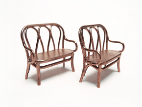 Pair of 1:48 Bentwood Settees in Raw Bronze