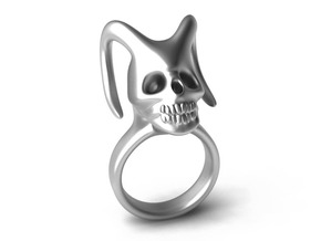 Skull Horns Ring in Stainless Steel