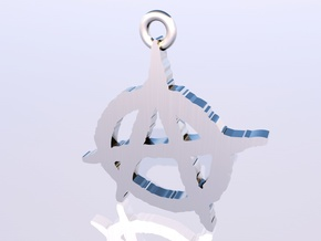 Anarchy Symbol Pendant in White Strong & Flexible