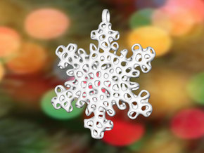 Snowflake Ornament - Carraigín in White Strong & Flexible Polished