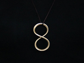 Sekiz Pendant (#2411) in Polished Gold Steel