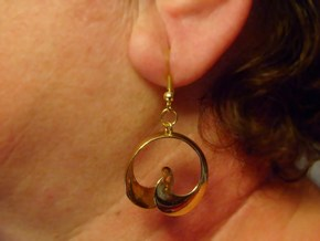 MobTor Earrings: the half Mobius Torus Shell in Polished Brass