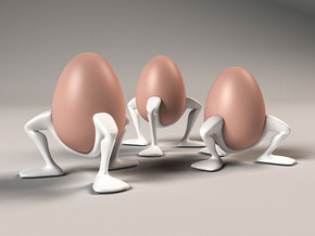 "Egg cup ""Leggies"" in White Strong & Flexible Polished"