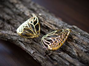 Metal Butterfly Earrings (L) in Polished Brass