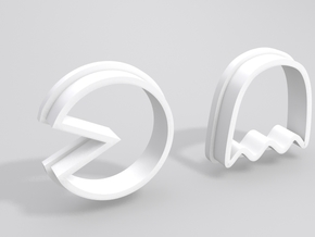 Pacman Cookie Cutter Set in White Strong & Flexible Polished