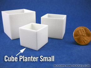 Cube Planter Small 1:12 scale in White Strong & Flexible Polished