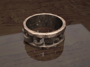 Cog ring: size 11 (US) W (UK) in Polished Bronze Steel
