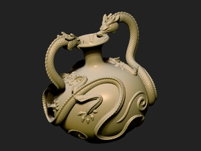 Twin Dragon Vase in White Strong & Flexible Polished