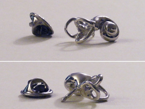 Inner Ear (Cochlea) Lapel Pin in Polished Silver
