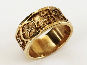 Steampunk Geared Ring in Polished Brass