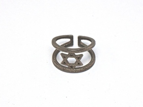 Star Of David Ring in Polished Bronze