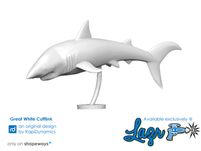 Great White Cufflink in White Strong & Flexible