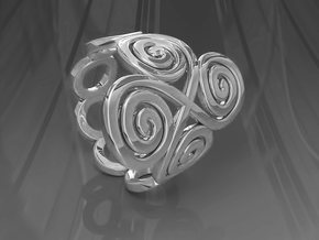 Spirals & Ovals Ring (Closed Version ) - Size18 in Polished Silver