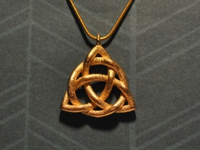 Triquetra Pendant or Trinity Knot Pendant in Matte Gold Steel