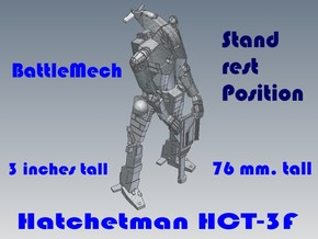 3 inch BattleMech Hatchetman Stand Rest in White Strong & Flexible
