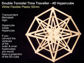 Sacred Geometry: Toroidal Hypercube Double 50mm in White Strong & Flexible