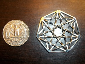 7D Hypercube Pendant in Polished Silver
