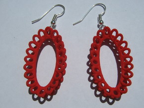 Moebius on Oval Earrings in Red Strong & Flexible Polished