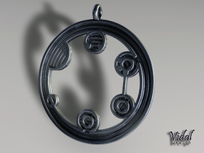 Circular Gallifreyan Pendant - 35mm in Raw Bronze
