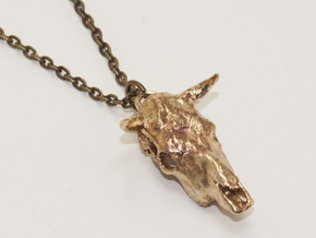 Bull With Horns Pendant in Raw Bronze