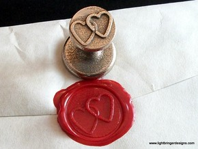 Linked Hearts Wax Seal in Stainless Steel