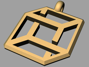 cube pendant impossible edition in Matte Gold Steel