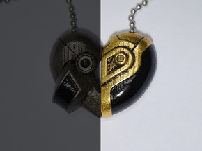 Robot Love Pendant (Gold Half) in Polished Gold Steel