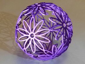 Dodeca Flower Medium (approx 80mm diameter) in Purple Strong & Flexible Polished
