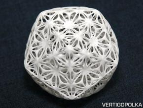 Truncated Icosahedron Stellated ds 75mm in White Strong & Flexible