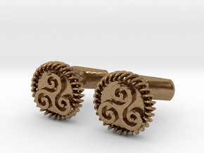 Triskelion Cufflinks in Raw Brass