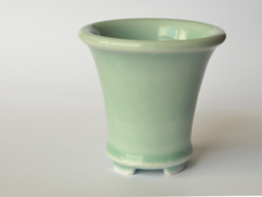 Round Bonsai-Style Shot Glass in Gloss Celadon Green Porcelain