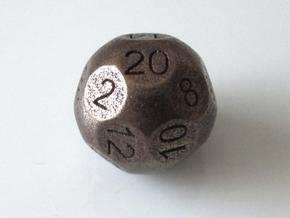 D20 Sphere Dice in Polished Bronze Steel