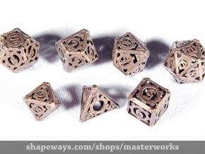 Steampunk Dice Set in Polished Bronze Steel
